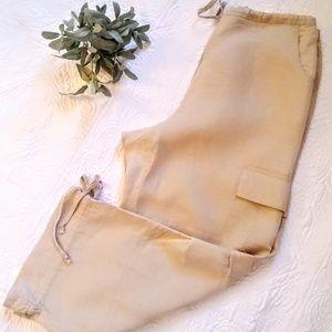 Motherhood Maternity drawstring linen pants, beige